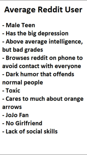 Bad, Funny, and Phone: Average Reddit User  - Male Teen  - Has the big depression  Above average intelligence,  but bad grades  - Browses reddit on phone to  avoid contact with everyone  - Dark humor that offends  normal people  ToXIc  - Cares to much about orange  arrowS  JoJo Fan  - No Girlfriend  - Lack of social skills It's not even funny how relatable this is