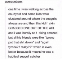"""Friends, Memes, and Shit: averagebare  one time i was walking across the  courtyard and some kids were  clustered around where the seagulls  always are and then this kid f ckin  GRABBED ONE OUT OF THE AIP  and i was literally so f cking amazed  but all his friends were like """"tyrone  put that shit down"""" and """"again  tyrone?? really??"""" which is even  better because it means he was a  habitual seagull catcher https://t.co/Pn48dGFDh9"""