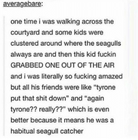 "Memes, 🤖, and Air: averagebare:  one time i was walking across the  courtyard and some kids were  clustered around where the seagulls  always are and then this kid fuckin  GRABBED ONE OUT OF THE AIR  and i was literally so fucking amazed  but all his friends were like ""tyrone  put that shit down"" and ""again  tyrone?? really??"" which is even  better because it means he was a  habitual seagull catcher My dog won't eat or drink if he sees anyone looking at him -Justin"