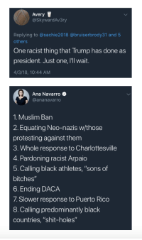 "Crime, Drugs, and Elizabeth Warren: Avery  @SkywardAv3ry  Replying to @sachie2018 @bruiserbrody31 and 5  others  One racist thing that Trump has done as  president. Just one, I'll wait.  4/3/18, 10:44 AM  Ana Navarro  @ananavarro  1. Muslim Ban  2. Equating Neo-nazis w/those  protesting against them  3. Whole response to Charlottesville  4. Pardoning racist Arpaio  5. Calling black athletes, ""sons of  bitches  6. Ending DACA  7. Slower response to Puerto Rico  8. Calling predominantly black  countries, ""shit-holes"" themadcapmathematician:  whatareyoureallyafraidof:  9. Calling Elizabeth Warren ""Pocahontas."" And, doing so in front of World War Two veteran Navajo code talkers.10. His Birther stance.    11. The time he infamously called Mexican immigrants ""rapists"" who were bringing drugs and crime into the US12. The entire Mexican border wall campaign13. Failing to disavow the KKK during hid election15. Claiming a judge was biased becuase he was Mexican16. Also saying he wouldnt trust a Muslim judge to give him a fair trial17. Before he was president he was sued twice by the Justice Department for not renting apartments to black people"