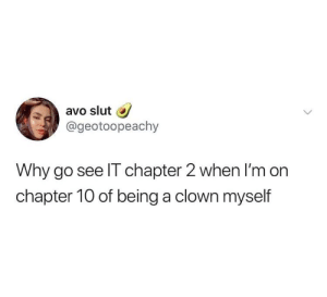 MeIRL, Clown, and Slut: avo slut  @geotoopeachy  Why go see IT chapter 2 when I'm on  chapter 10 of being a clown myself meirl