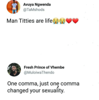 Fresh, Life, and Memes: Avuya Ngwenda  @TaMshods  Man Titties are life  Fresh Prince of Vhembe  @MuloiwaThendo  One comma, just one comma  changed your sexuality Commas are important people.