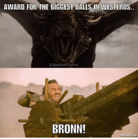 "Fire, Memes, and 🤖: AWARD FOR THE BIGGEST BALLS IN WESTEROS  IG/gaemofthrones  BRONN!  mematic.net Only Bronn could see a fire breathing Dragon flying towards him and still have the guts to say ""Come at me, fooker"" 👏👏"