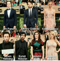 Memes, Brilliant, and Big Bang Theory: Awards  2017  instagr  vbs  im Parsons  jonnhy Galecki Kaley Guoco  S  WELCOME  Mayim  Melissa  Simon E  Kunal  Helberg  Nayyar  Bicil  Rauch SAG Awards 2017 The cast of The Big Bang Theory has looked fabulous last night at the SAG Awards, such brilliant, intelligent and talented people.
