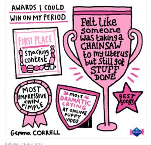 Crying, Period, and Best: AWARDS I COULD  .  WIN ON MY PERIOD  FIRST PLACE  cohtest  Felt Like  Someone  was takinga  GHAINSAW  STUPFP  DONE  MOST  RESSIVE  CHIN  MPLE  IMPR  BEST  CRYING  AT ONVINE  PUPPY  VIDEO  Gemma CORRELL  8.45 AM-16 Aua 2017
