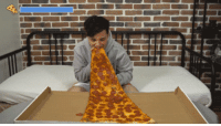 Pizza, Tumblr, and youtube.com: awesomage:  Biggest Slice Of Pizza Challenge