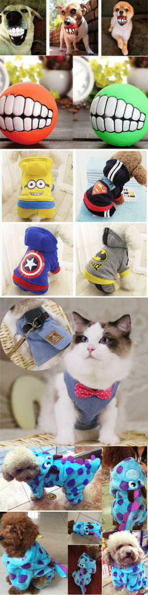 Clothes, Tumblr, and Blog: awesomage:    Marvelous Pets Teeth Style Toy Ball     Super Hero Dog Clothes    Adorable Dog Costume    Cat Vest Harnesses