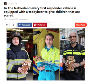 Children, Pinterest, and Awesome: Awesome 4h  equipped with a teddybear to give children that are  scared.  3,817 points 222 comments  f FacebookP  D Pinterest  Next Post Nederland is geweldig