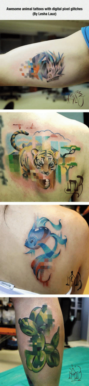 Tattoos, Tumblr, and Animal: Awesome animal tattoos with digital pixel glitches  (By Lesha Lauz) lolzandtrollz:Glitch Art Tattoos