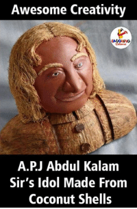Awesome, A. P. J. Abdul Kalam, and Indianpeoplefacebook: Awesome Creativity  A.P.J Abdul Kalam  Sir's Idol Made From  Coconut Shells