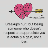 Awesomes: Awesome Quotes  com  Breakups hurt, but losing  someone who doesn't  respect and appreciate you  is actually a gain, not a  loss.