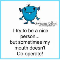 Nice Personality: Awesome Quotes  www.Awesomequotes4u.com  I try to be a nice  person  but sometimes my  mouth doesn't  Co-operate!
