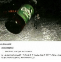 Concussion, Drinking, and Funny: awesomephilia:  And that's how I got a concussion  IM LAUGHING SO HARDI THOUGHT IT WAS A GIANT BOTTLE FALLING  OVER AND CRUSHING HIM OH MY GOD Looks like they were drinking just a bit too much. funny tumblrfunny tumblr funnytumblr tumblrtextpost funnytumblrtextpost