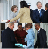 Awkward moment or political snub? Many on social media speculated that MichelleObama was caught off guard when MelaniaTrump presented her with a TiffanyAndCo box on InaugurationDay. However, it turns out that the former first lady also gave LauraBush a gift back in 2009. Tell us what you think: Was this a snub or was she thrown off? For more on this story, visit Insider.FoxNews.com. (Photo Credits: Getty Images; Report via @JennaLeeUSA): Awkward moment or political snub? Many on social media speculated that MichelleObama was caught off guard when MelaniaTrump presented her with a TiffanyAndCo box on InaugurationDay. However, it turns out that the former first lady also gave LauraBush a gift back in 2009. Tell us what you think: Was this a snub or was she thrown off? For more on this story, visit Insider.FoxNews.com. (Photo Credits: Getty Images; Report via @JennaLeeUSA)