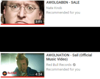 awolnation: AWOLGABEN - SALE  Nate Knob  Recommended for you  3:05  AWOLNATION Sail (Official  Music Video)  Red Bull Records  Recommended for you  ︶ 4:24