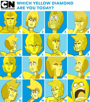 Memes, Cartoon, and Diamond: AWRHICH YTLLON DIAMOND  CARTOON NETHORKARE YOU TODAY?  2  3  4  5  6  7  8  10  12  13  14  15  16 Yellow Diamond has so many facets 💛💎