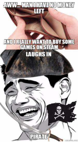 Aww, Money, and Steam: AWW.. MANIIIHAVENO MONEY  LEFT  ANDI REALLY WANTTO BUY SOME  GAMES ON STEAM  LAUGHS IN  PIRATE ARRRRRRRR