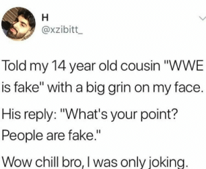 """Chill, Fake, and Wow: axzibitt  Told my 14 year old cousin """"WWE  is fake"""" with a big grin on my face.  His reply: """"What's your point?  People are fake.""""  Wow chill bro, I was only joking. Real eyes realize real lies"""