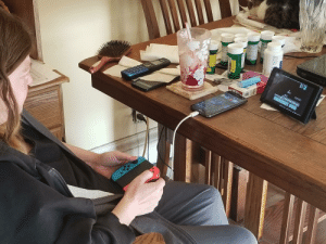 I brought my Nintendo switch to my mothers house. She has nerve damage in her legs so she cant really leave the house much (stairs). She has complained alot about cabin fever and being bored. Here she is playing Super Mario bros 3 on the SNES app: AY  ICTM STT  Mar I brought my Nintendo switch to my mothers house. She has nerve damage in her legs so she cant really leave the house much (stairs). She has complained alot about cabin fever and being bored. Here she is playing Super Mario bros 3 on the SNES app