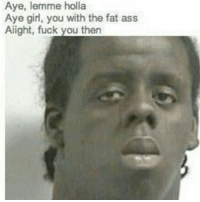 Dank Memes, Fat Asses, and Aye: Aye, lemme holla  Aye girl, you with the fat ass  Alight, fuck you then A 🤳haiku💻