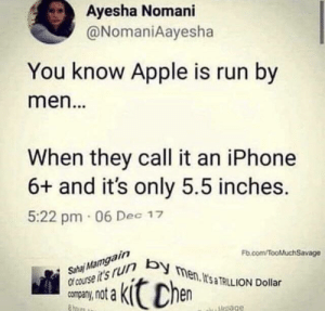 Apple, Dank, and Iphone: Ayesha Nomani  @NomaniAayesha  You know Apple is run by  men.  When they call it an iPhone  6+ and it's only 5.5 inches.  5:22 pm 06 Dec 17  Fb.com/TooMluchSavage  course it's run b  company, not a  en, ItsaTAILION Dollar  Mesage Massive damage by alexrox360 MORE MEMES