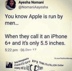Apple, Bad, and Dank: Ayesha Nomani  @NomaniAayesha  You know Apple is run by  men  When they call it an iPhone  6+ and it's only 5.5 inches  5:22 pm 06 Dec 12  Fb.com TooMuchSavage  course itsrun by  company, not a  Sahai Mamgain  en. I'sa TRILION Dollar Both hurt pretty bad lol by Elgrus MORE MEMES