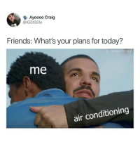 Friends, Memes, and Craig: Ayoooo Craig  @İGOtSole  Friends: What's your plans for today?  g: realpettymayO  me  air conditioning Hold on, we're staying home