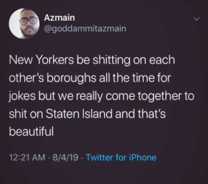 They Do Have the Ferry Though: Azmain  @goddammitazmain  New Yorkers be shitting on each  other's boroughs all the time for  jokes but we really come together to  shit on Staten Island and that's  beautiful  12:21 AM 8/4/19 Twitter for iPhone  > They Do Have the Ferry Though