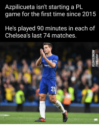 Been a rock in the defence!: Azpilicueta isn't starting a PL  game for the first time since 2015  He's played 90 minutes in each of  Chelsea's last 74 matches.  TYRE.  28 Been a rock in the defence!