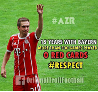 Legend 🔥⚽️ @instatroll.soccer:  #AZR  A 15 YEARS WITH BAYERN  MORE THAN 330 GAMES PLAY ED  RED CARDS  #RESPECT  if ori  dinalTrollFootball Legend 🔥⚽️ @instatroll.soccer
