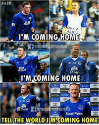 Memes, Blue, and Home:  #AZR  KEJIA  ONCE A  BLUE  I'M COMING HOME  OriginalT ollFoothall  科健  KEJIAn  Chang  'M COMING HOME  SportPes  SportPes  sportPesa FARCH  SportPesa  品,ARCH  SportPes  hang Origina TroltFoothal  FoncsSportPesa  TELL THE WORLD I COMING HOME Wayne Rooney is coming home 😁 ➡️Credit: OriginalTrollFootball