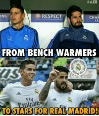 😍😍:  #AZR  RESPECT  ONS  CHAM  LE  CAR  FROM BENCH WARMERS  Od  irate  TO STARS FOR REAL MADRID 😍😍