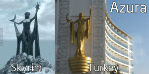 Anaconda, Empire, and Prince: Azura  yr onion-souls:  haltmann:  sunandreign:  nirnnet:  Azura Deluxe Resort  Spa Hotel, Alania, Turkey   I don't know what fucks me up more - the fact that it's a 100% real, lavish 5 star resort, or that there's exactly nothing to indicate that it isn't literally referring to the Daedric Prince Azura   IIRC there's even more TES references inside the hotel itself which only raises more questions   If you hold a plate against the hotel's front entrance you'll clip through into the Byzantine Empire, fully textured but devoid of NPCs