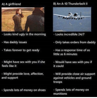 Memes, 🤖, and Air: B) An A-10 Thunderbolt II  A) A girlfriend  Looks kind ugly in the morning  Looks incredible 24/7  as daddy issues  Only takes orders from daddy  Takes forever to get ready  Has a response time of as  little as 6 minutes  Might have sex with you if she  Would have sex with you if  feels like it  it could  Might provide love, affection,  Will provide close air support  and support  against vehicles and ground  troops  Spends lots of money on shoes  Spends lots of money on  munitions Am I the only one who finds these young conservative caucasian male memes funny?