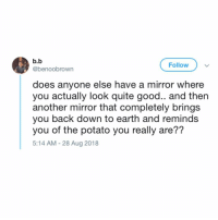Twitter, Earth, and Good: b.b  @benoobrown  Follow  does anyone else have a mirror where  you actually look quite good.. and then  another mirror that completely bring:s  you back down to earth and reminds  you of the potato you really are??  5:14 AM - 28 Aug 2018 It's called a reality check mirror (twitter: benoobrown)