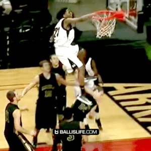 This might be the deadliest dunk of all time... look at the defender after https://t.co/w9oCjuXXLg: B BALLISLIFE.COM This might be the deadliest dunk of all time... look at the defender after https://t.co/w9oCjuXXLg