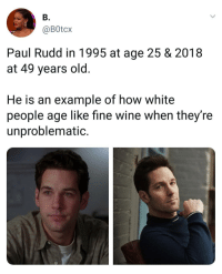 Memes, White People, and Wine: B.  @BOtcx  Paul Rudd in 1995 at age 25 & 2018  at 49 years old.  He is an example of how white  people age like fine wine when they're  unproblematic. A rare case these days. | Follow @aranjevi for more!