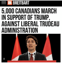 Memes, Trump, and 🤖: B BREITBART  5,000 CANADIANS MARCH  IN SUPPORT OF TRUMP,  AGAINST LIBERAL TRUDEAU  ADMINISTRATION Based Canadians! 🇺🇸