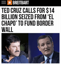 El Chapo, Memes, and Ted: B BREITBART  TED CRUZ CALLS FOR S14  BILLION SEIZED FROM EL  CHAPO TO FUND BORDER  WALL @wearebreitbart @sentedcruz ElChapo BuildThewall AmericaFirst MAGA