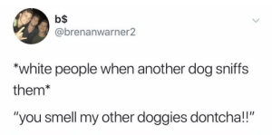 "Smell, White People, and Home: b$  @brenanwarner2  ""white people when another dog sniffs  them*  ""you smell my other doggies dontcha!!"" This one hit a little too close to home"