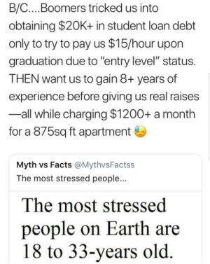 "Facts, Earth, and Old: B/C...Boomers tricked us into  obtaining $20K+ in student loan debt  only to try to pay us $15/hour upon  graduation due to ""entry level"" status  THEN want us to gain 8+ years of  experience before giving us real raises  -all while charging $1200+ a month  for a 875sq ft apartment  Myth vs Facts @MythvsFactss  The most stressed people...  The most stressed  people on Earth are  18 to 33-years old"