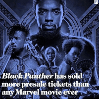 """Being Alone, America, and Captain America: Civil War: B d  lack Panther has sol  more presale tickets thaii  any Marvel movie ever Yass! 💯🙌🏽👏🏾✊🏾 BlackPanther . """"Black Panther is on track to become one of the biggest ever Marvel films going by its ticket pre-sales. Fandango has reported that in its first 24 hours alone, the film - directed by Ryan Coogler - overtook Captain America: Civil War to sell more advance tickets than any other film released in the Marvel Cinematic Universe. In fact, so hectic were the opening day sales that one of the film's stars - 12 Years a Slave Oscar-winner Lupita Nyong'o - failed to acquire tickets."""""""