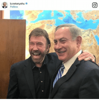 """Memes, Netanyahu, and Israeli: b netanyahu  Follow ChuckNorris met with Israeli Prime Minister @b.netanyahu on Wednesday during the actor's visit to the Holy Land. Netanyahu told Norris, """"Listen, Israel is strong but it's indestructible now."""""""