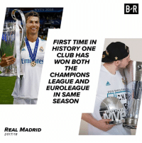 Club, Cristiano Ronaldo, and Real Madrid: B R  2018  FIRST TIME IN  HISTORY ONE  CLUB HAS  WON BOTH  THE  CHAMPIONS  Emi ates  LEAGUE AND  odidos  EUROLEAGUE  IN SAME  SEASON  2018 EUROLEAGU  A FOUR  REAL MADRID  2017/18 Cristiano Ronaldo and Luka Doncic get it done for Real Madrid 🏆