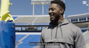 Social Media, Good, and How To: B-R  [Adam Lefkoe:] What is good, y'all? Opposing players aren't going to be the only ones coming at LB Josh Allen  Adam Lefkoe coaches him on how to handle the social media gauntlet 😂   From B/R x M by Michael Strahan x JCPenney