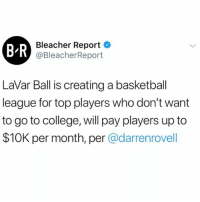 Basketball, College, and Memes: B-R  Bleacher Report  @BleacherReport  LaVar Ball is creating a basketball  league for top players who don't want  to go to college, will pay players up to  $10K per month, per @darrenrovell According to BleacherReport, LaVarBall is creating a basketball league for players who skip college...thoughts? 🏀😳🤔 @BleacherReport WSHH