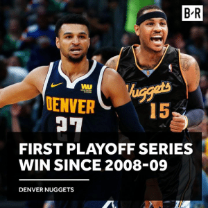 Nuggets win a pivotal Game 7 and move on to the 2nd round 💪: B R  ENVER  FIRST PLAYOFF SERIES  WIN SINCE 2008-09  DENVER NUGGETS Nuggets win a pivotal Game 7 and move on to the 2nd round 💪