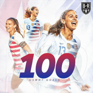Alex Morgan reaches 100 goals for the USWNT 🇺🇸: B-R  FOOTBALL  13  U S W NT G O AL S Alex Morgan reaches 100 goals for the USWNT 🇺🇸