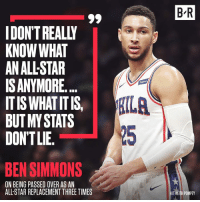Ben Simmons disagrees with the selection process.: B R  IDON'T REALLY  KNOW WHAT  AN ALL-STAR  ISANYMORE.  ITIS WHAT ITIS  BUT MY STATS  DONTLIE.  【ILA  25  BEN SIMMONS  ON BEING PASSED OVER AS AN  ALL-STAR REPLACEMENT THREE TIMES  T KEITH POMPEY Ben Simmons disagrees with the selection process.