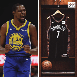 KD will switch to No. 7 on the Nets after wearing No. 35 for his whole career  (via Kevin Durant): B R  infor  GRODKLYS  7  Rakuten  N  GOLDENSTATE  35  RRIOFP  AREDS  SPALANG KD will switch to No. 7 on the Nets after wearing No. 35 for his whole career  (via Kevin Durant)